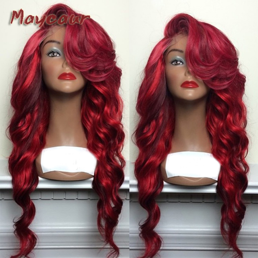 Maycaur Ombre Red Color Body Wavy Wigs With Bangs Glueless Heat Resistant Synthetic Lace Front Wigs For Black Women