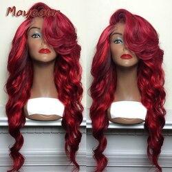 Maycaur Ombre Rode Kleur Lichaam Golvend Pruiken Met Pony Lijmloze Hittebestendige Synthetische Lace Front Pruiken Voor Zwarte Vrouwen