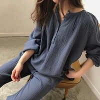 Senhoras de verão sexy algodão pijamas conjunto feminino bonito lingerie cor sólida pijamas terno manga longa topo e calças conjunto