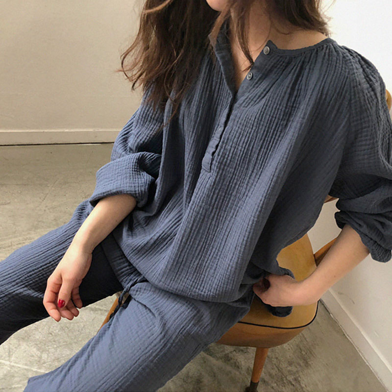 Summer Ladies Sexy Cotton   Pajamas     Set   Women Cute Lingerie Solid Color Pijama Suit Long Sleeve Top And Trousers   Set