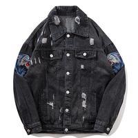 2019 Mens Denim Jacket With Patches Wolf Embroidery Men Hip Hop Denim Bomber Jackets Vintage Distressed Men Ripped Denim Jacket
