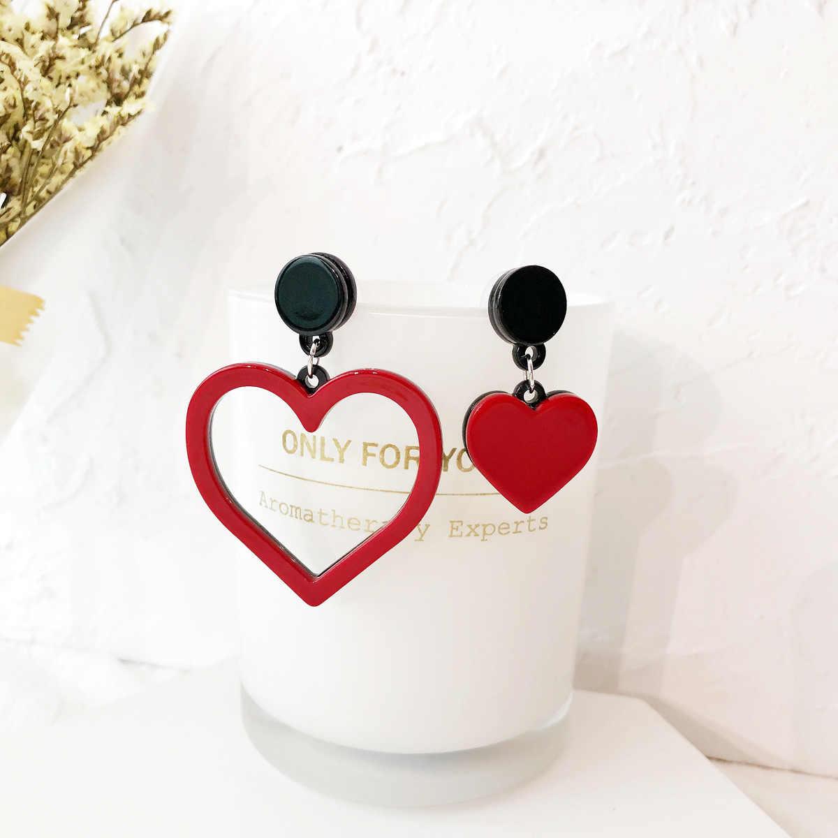 Acrylic Trendy Heart Women Dangle Earrings Sweet Asymmetric Red Love Earrings For Women Drops Earrings  Bohemian Earrings