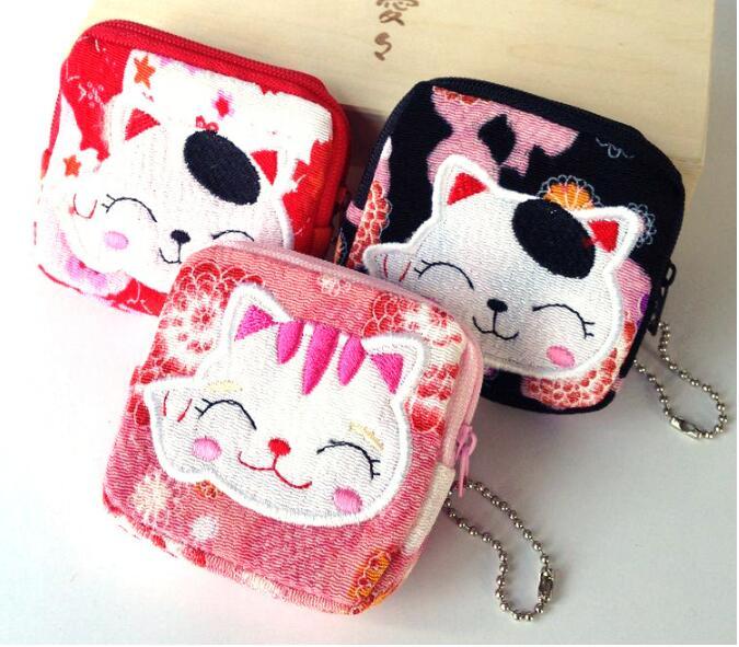 Wholesale cute small handbag coin purse cartoon lucky cat phone pocket mix 20pcs/lot key pouch bolsa de viaje monederos mujer