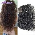 Sin procesar de la onda brasileña virginal del pelo 3/4 paquetes con cierre productos para el cabello rosa pelo virginal brasileño con lace closure
