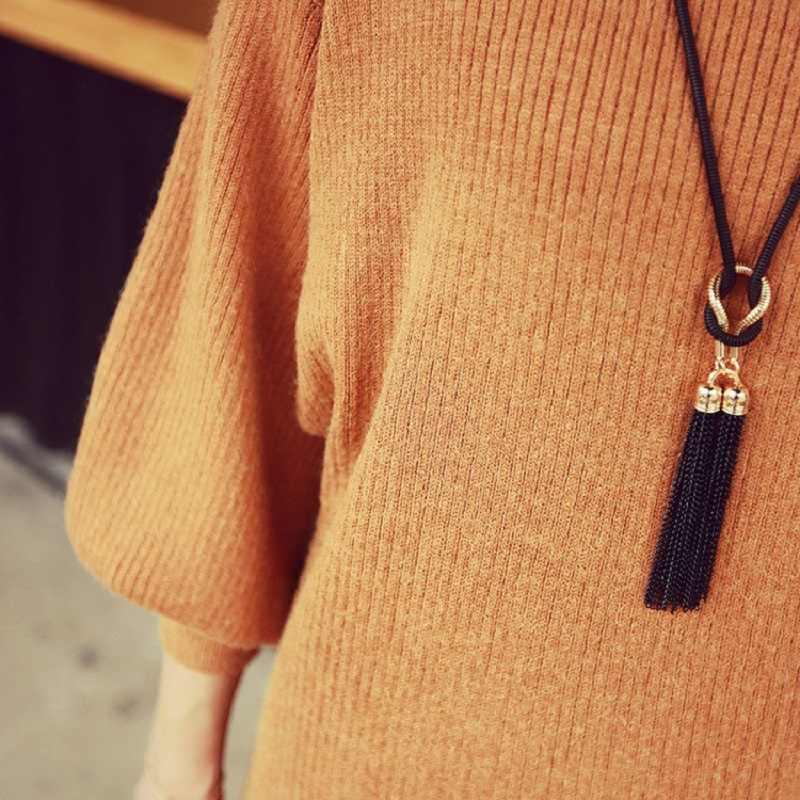 ファッションタッセルセーターチェーンネックレス女性ネックレス & ペンダント高級ジュエリーロングブラブライヤリングネックレスギフト