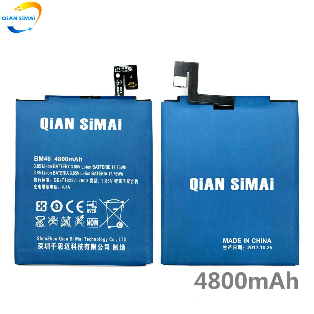 QiAN SiMAi 2017 New High Quality BM46 BM 46 4800mAh battery for Xiaomi Redmi Note 3 / Redmi note 3 pro phone +track code
