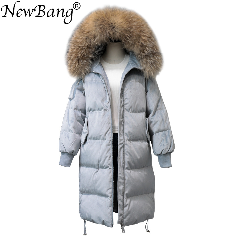 NewBang Brand Winter   Down   Jacket Women   Coat   With Real Fur Collar   Down   Jacket Female Long Thick Warm Windproof Parkas