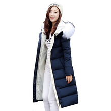 Plus Size New Winter Thicken Knee-length Long Jacket Women Down Cotton Hooded Warm Parka Slim Coat Padded Jaqueta Feminina YC642