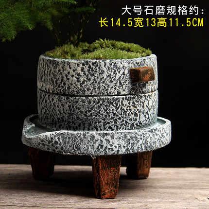 Pequeno moinho de pedra Criativo vaso de flores estilo de cimento planta Verde pote pote pote pequeno bonsai interior home retro planta suculenta