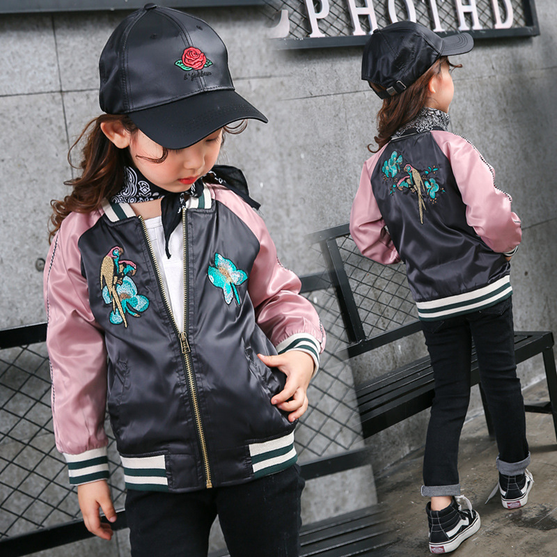 Latest Fashion Embroidery Bomber Jacket for Girl Windproof Trendy Autumn Baby Girl Baseball Jacket Active Kids Children Coat W23 ...