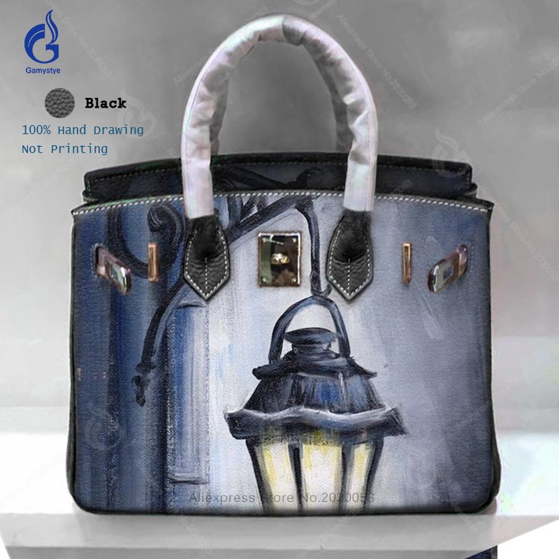 Graffiti Custom Bags Large Capacity Togo Leather Crossbody Hand Bags Ladies Messenger Bags Genuine Leather Vintage Casual Totes art hand printed bags for women 2018 100% genuine leather top handle bags high capacity vintage casual totes togo leather bag y