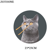 Parches Funny Cat Patch Iron-on Transfers For Clothes Applique Sticker Heat Transfer Vinyl T-shirts Thermal Paper