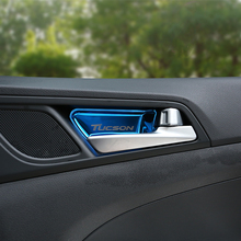 цена на Stainless steel Car Interior Door Handle Bowl Covers Sticker Decorations Trim For Hyundai Tucson 2015 2016 2017 2018 Car-styling