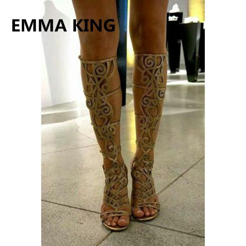 Роскошный свинцовый хрусталь; женские летние сандалии гладиаторы до колена; пикантная женская модная обувь на высоком каблуке с открытым носком и вырезами; женские босоножки - 5