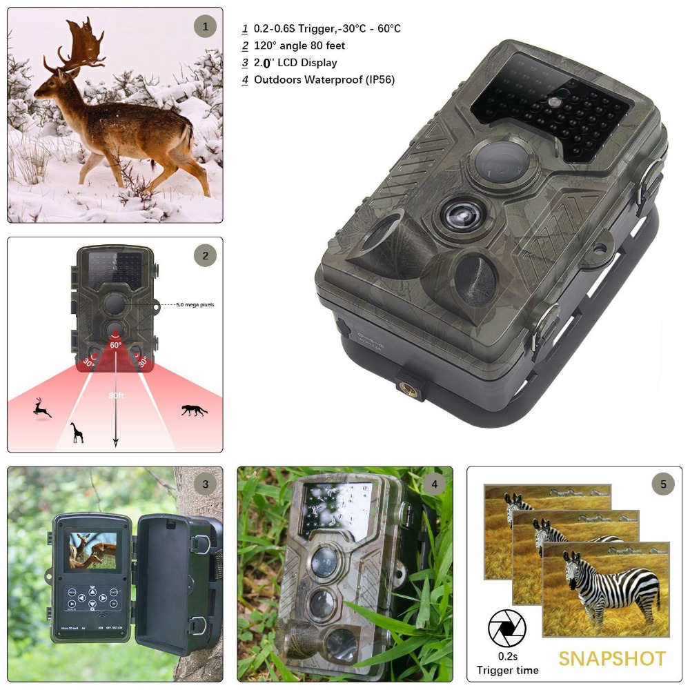 12MP 1080P Wildlife Camera Photo Traps with 120 Wide Angle Trail Surveillance Camera Night Vision Hidden Camera For Game Hunting цена и фото
