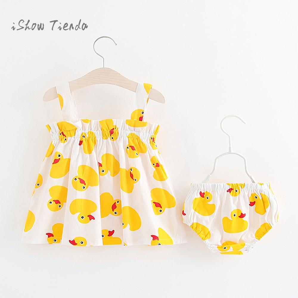 2pcs dress for newborns set Baby Girls clothes Duck Print Strap baby dress for 1 year+Lace Shorts first birthday outfit girl