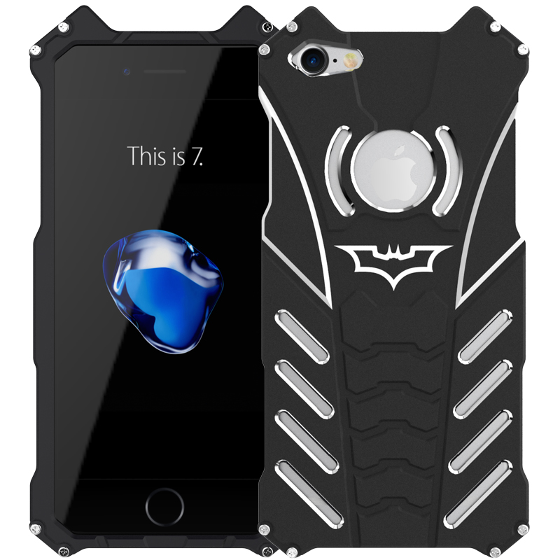 For iphone 7/7 plus,Armor Heavy Dust Metal Aluminum CNC BATMAN protect Skeleton head phone case+BATMAN bracket R-JUST