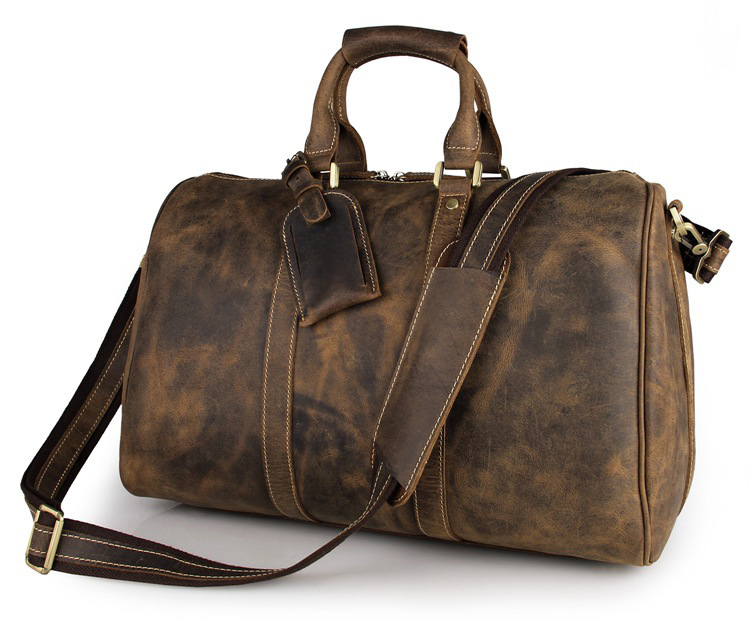 b2fc80aab2 Men s Crazy Horse Leather Travel Duffle Brown Genuine Leather Travel Bag  Big Vintage Cow Leather Boston Weekend