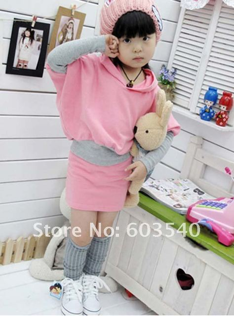 Spring/Autumn HOT girls dress solid bat sleeve hooded dress suit POP stitching(shirt + dress ) 5set/lot