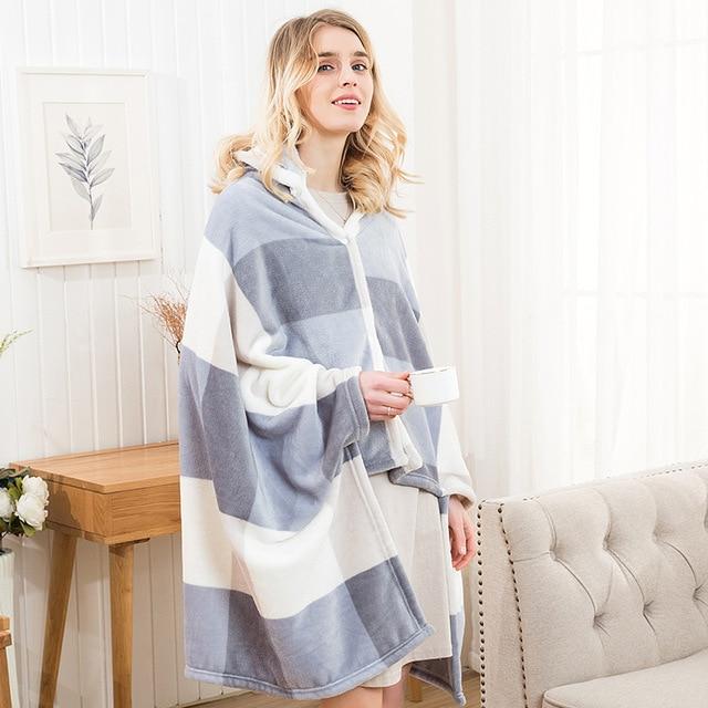 Winter Thick Comfy Hooded Plaid Blanket Sweatshirt Unicorn Warm Coats TV Hoodie Blankets Fleece Blanket Adult for Sofa Beds Kids