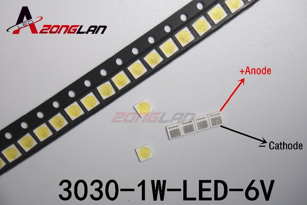 Image 3 - LED 1000 sztuk/partia podświetlenie dioda LED dużej mocy 1.8W 3030 6V zimny biały 150 187LM PT30W45 V1 do tvŚwiecące koraliki   -