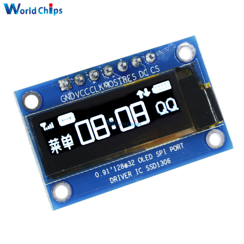 0.91 Inch 128x32 White OLED LCD Display DIY Oled Module SSD1306 Driver IC For Arduino PIC SPI Port DC 3.3V-5V