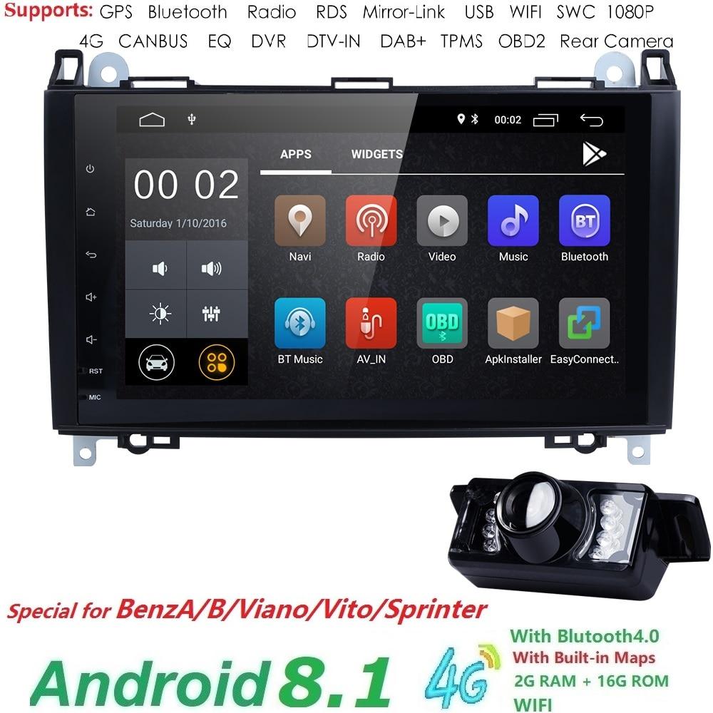 2Din Car Multimedia Player for Mercedes Viano Vito W639 Mercedes Sprinter W906 Benz B200 Een B W169 W245crafter BT GPS AutoRadio