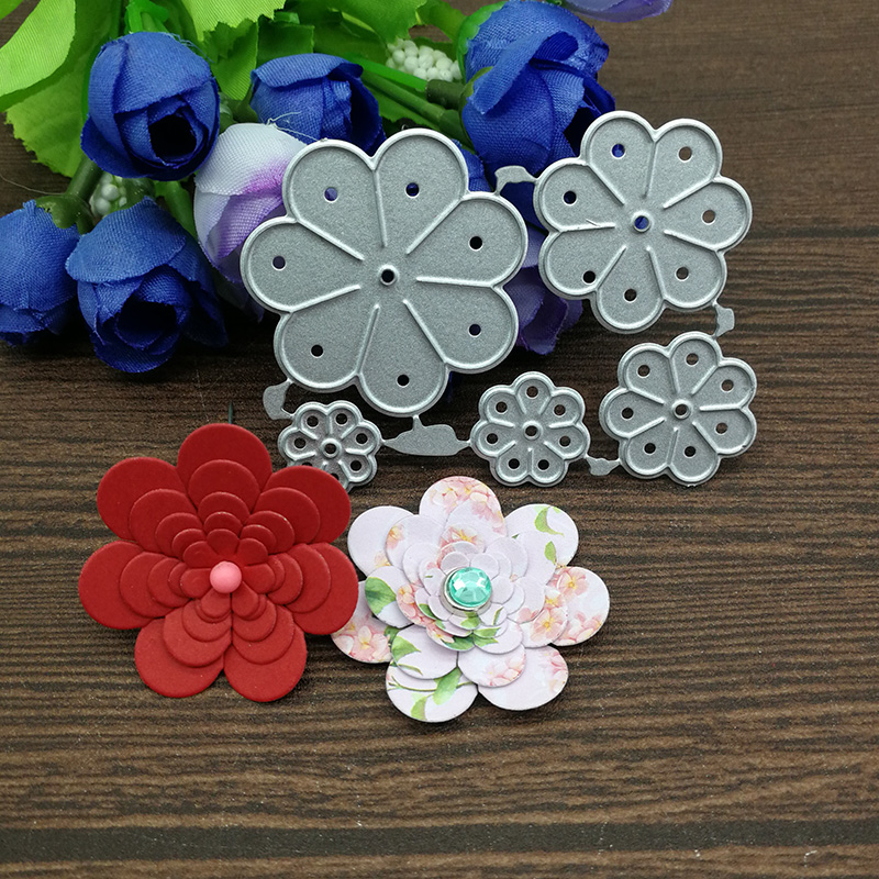 5pcs flower Metal Cutting Dies Stencils For DIY Scrapbooking Decorative Embossing Handcraft Die Cutting Template(China)