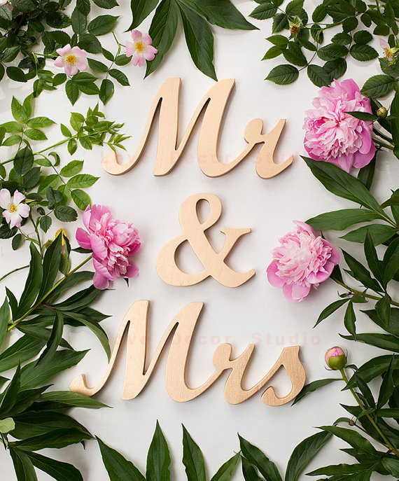 mr mrs wedding table sign wooden script letters custom colors diy gold wood pvc freestanding sweetheart