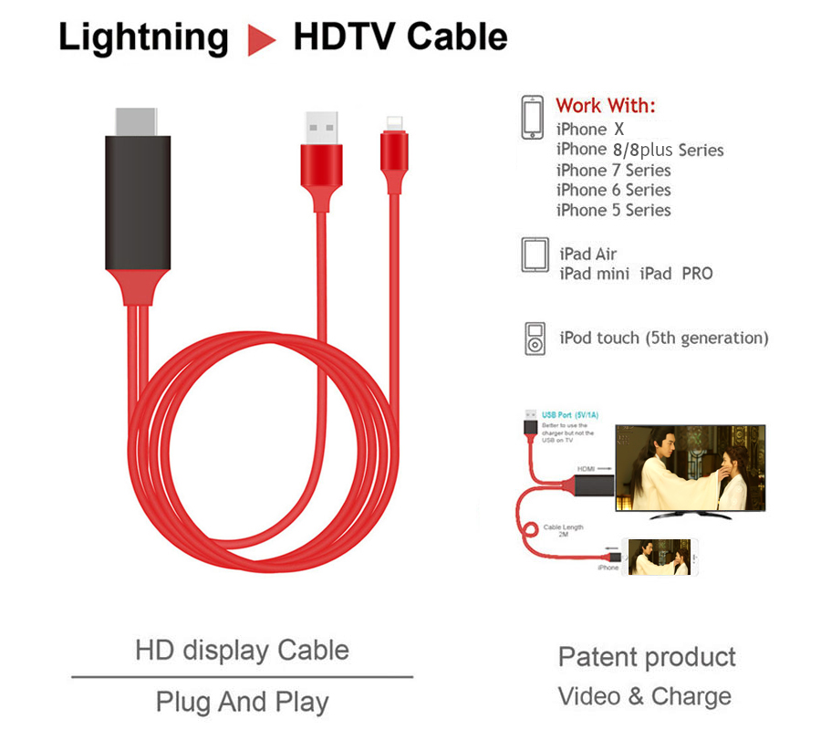 2018 High Quality lighting to AV HDMI / HDTV TV 8 Pin Digital Cable Adapter for iPhone X 8 8 plus 5 5s 6 6s 7 7plus iPad Pro