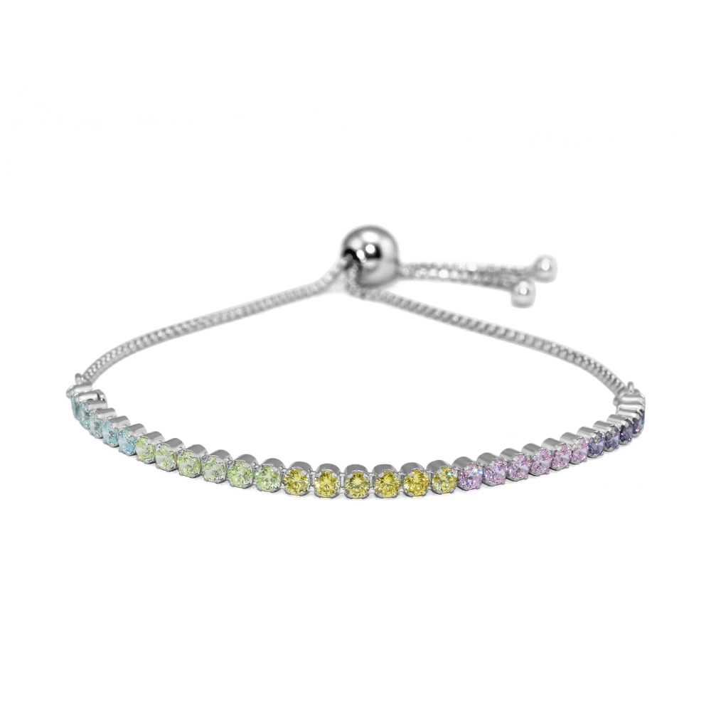Authentic 925 Sterling Silver Jewelry Multi-Color Sparkling Strand Bracelet Fine Jewelry Newest Bracelets for Women FLB030DAuthentic 925 Sterling Silver Jewelry Multi-Color Sparkling Strand Bracelet Fine Jewelry Newest Bracelets for Women FLB030D
