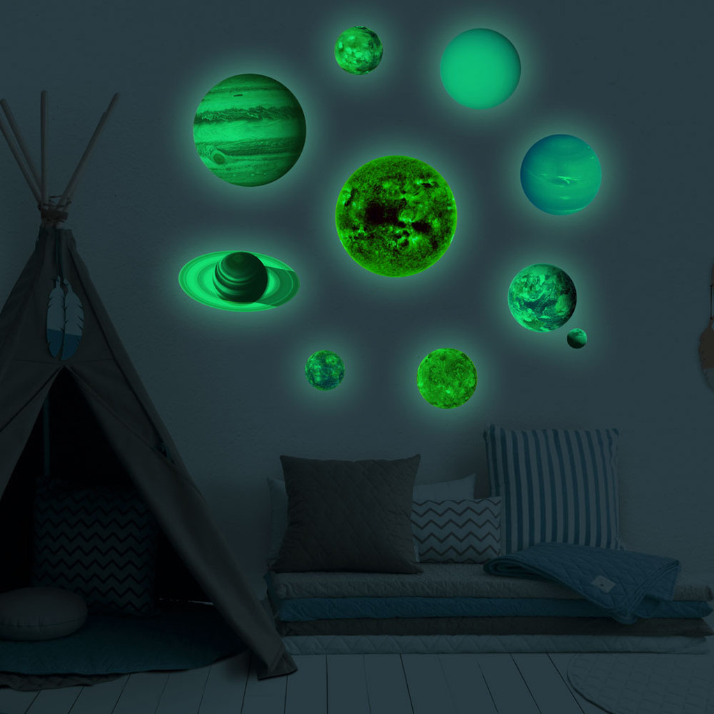 10pcs/set 10 Planet Solar System Fluorescent Wall Stick The Universe Planet Galaxy Children Room Bedroom Luminous Wall Stickers