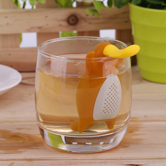 2017 Creative Cute Platypus Shape Tea Strainer Interesting Home Silicone Tea Infuser Filter Teapot For Tea Coffee Drinkware
