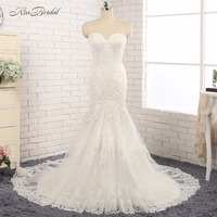 Newest Design Sweetheart Neckline Wedding Dresses Mermaid Button Back Vintage Lace Bride Dress Vestido Casamento Noiva