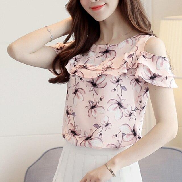 2018 Women Off Shoulder Short Sleeve Blouses Print Floral Chiffon Shirts Casual Ladies Clothing Female Blusas Women Tops 1