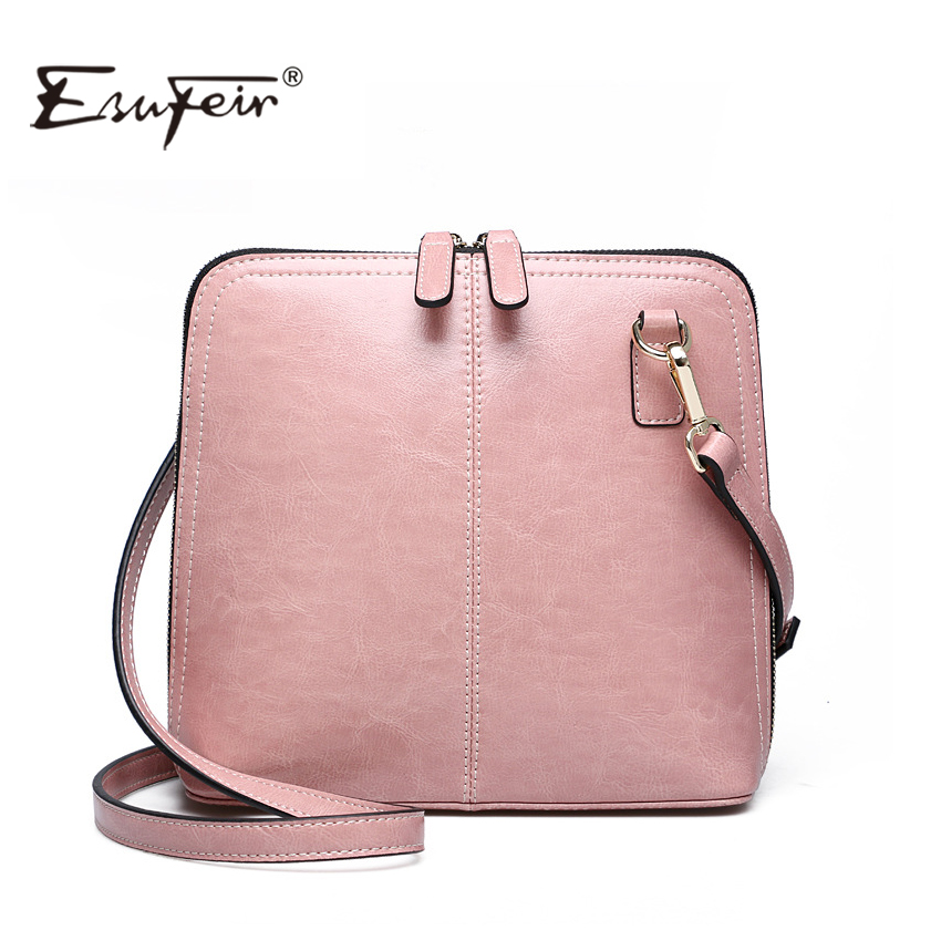 2017 ESUFEIR Genuine Leather Shell Women Shoulder Bag Luxury Brand Bag Women Messenger bag Famous Designer