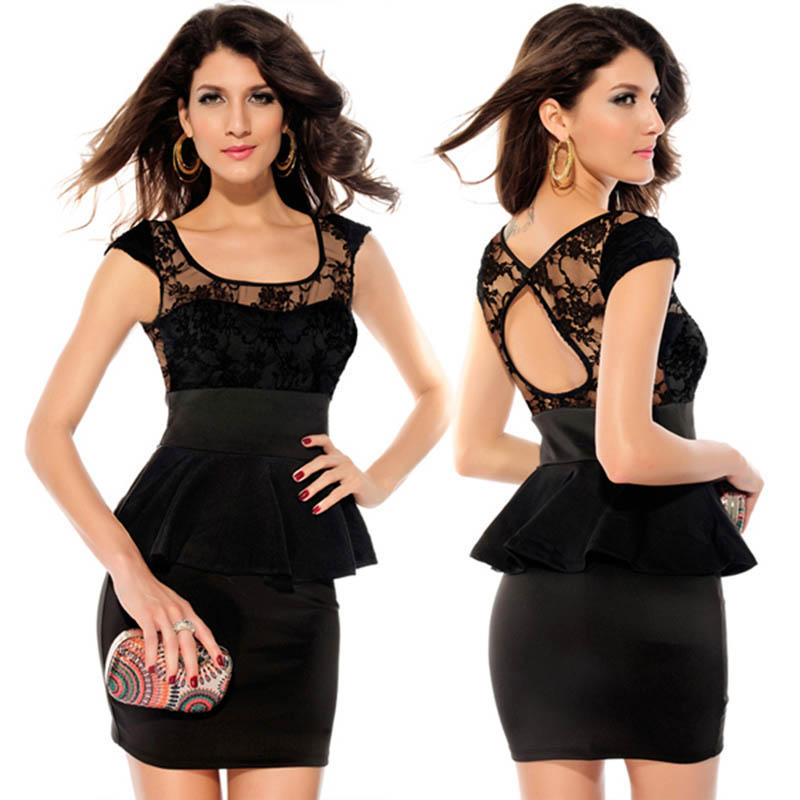 Elegant Sleeveless Lace Pencil Peplum Dress Black Red Sexy Square Collar OL Office Bodycon Robe Party Club Vestido De Renda