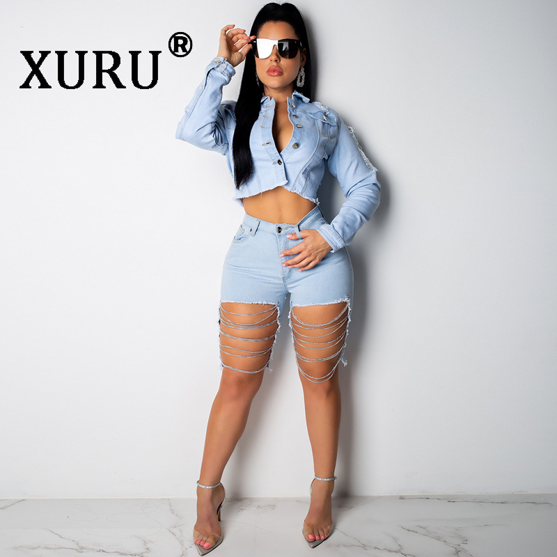 XURU New Washed Jeans Two-Piece Buttoned Open Back Set Sexy Broken Chain