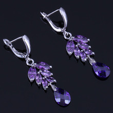 Flawless Water Drop Purple Cubic Zirconia 925 Sterling Silver Dangle Earrings For Women V1008