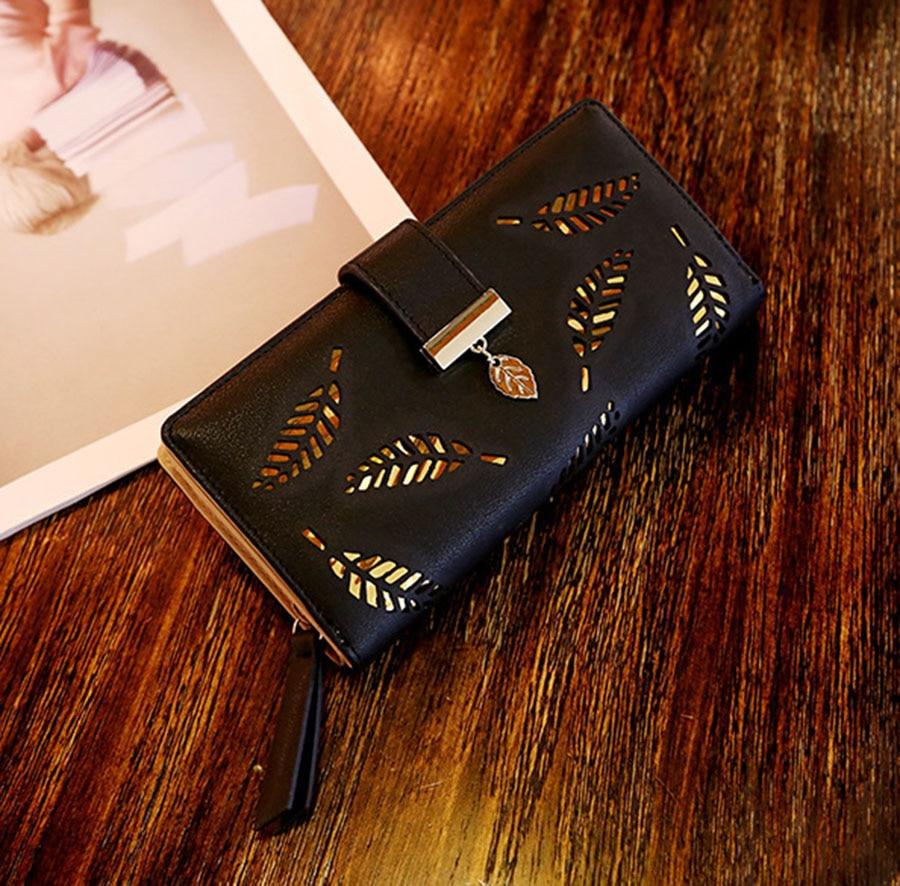 Мара'мечта абсолютно 2019 листья полые женщины кошелек мягкий PU кожа женщин'клатч с бумажник женщин дизайнер кошельки кошелек монет