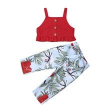 От 0 до 5 лет, комплекты летней одежды для маленьких девочек комплекты одежды для маленьких девочек короткий топ без рукавов, штаны с цветочным принтом, комплекты одежды
