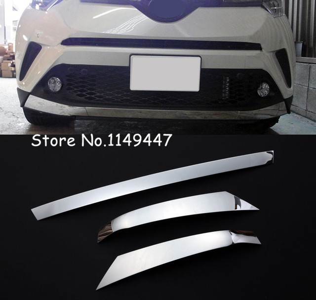 Car Styling  Exterior Front Bottom Bumper Skid Protector Strip Decorative Cover 3* For Toyota C-HR CHR 2016 17 2018 Accessories