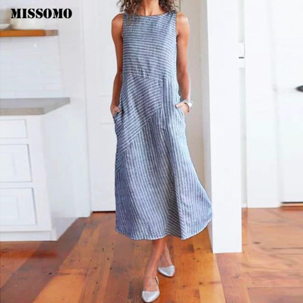 MISSOMO Summer Dress Women Striped Sleeveless Linen Dress Crew Neck Linen Pocket Long Dress Casual Women Dress Formal