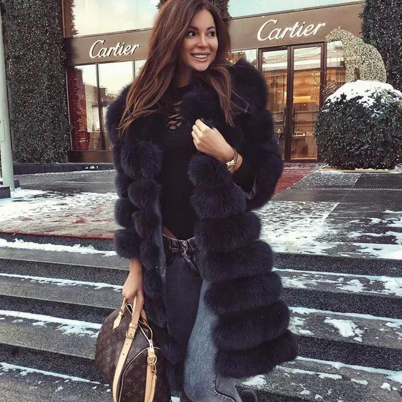 La vraie fourrure 2018 Réel Fourrure De Renard Manteau Femmes Naturel Réel De Fourrure Vestes Gilet Hiver Survêtement Femmes Vêtements