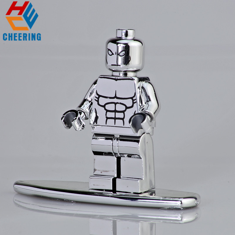 Single Sale Super Heroes Model Chromed Silver Surfer Chromed Silver Series Figures Building Blocks For Children Toys Gift KF2055