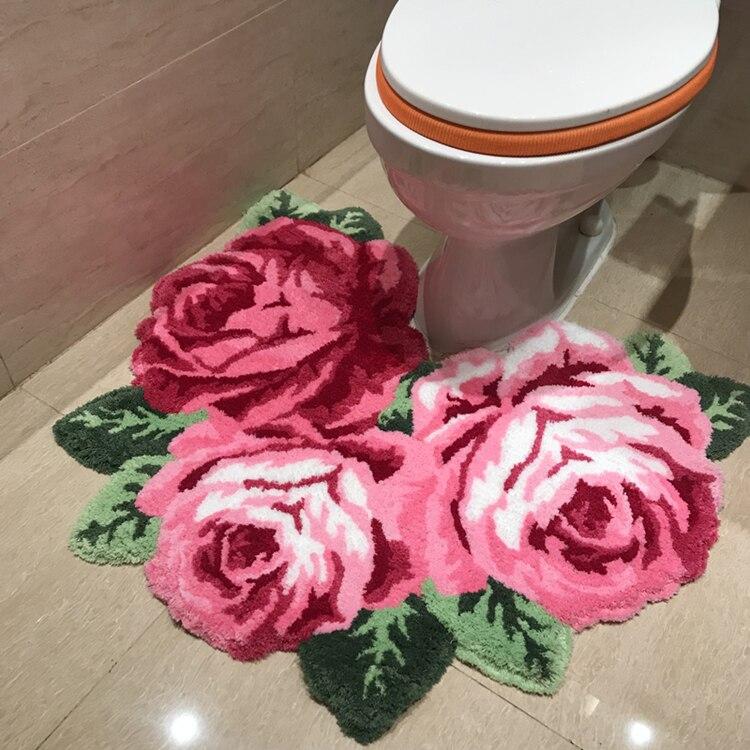 3D Красная роза ковер для ванной комнаты ковер для гостиной ковер розовая роза коврики с изображением цветов коврики для ванной противоскользящие - Цвет: Розовый