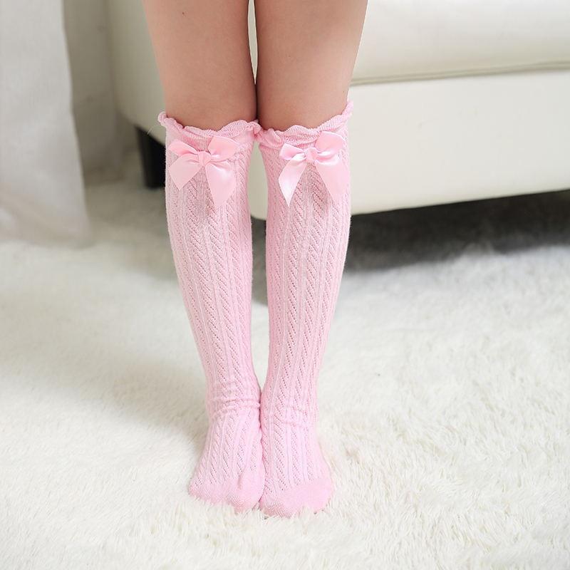 Toddler Baby Girls Knee High Long Socks Bow Casual Leg Warmer Stockings 0-4 Year