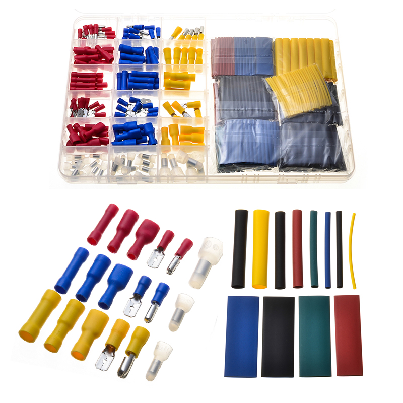 430PCS Assorted Heat Shrink Tube Polyethylene Ratio 2:1 Shrinkage Sleeve Tubes PVC Wire Connectors Closed End Crimp Terminal Set