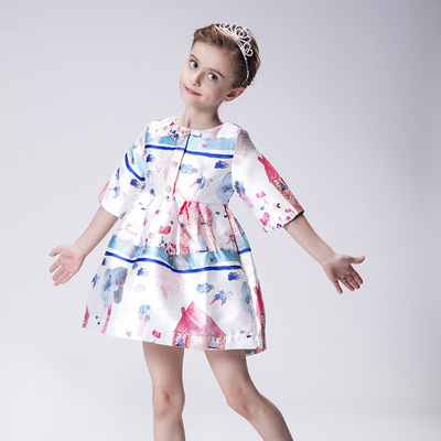 2016 New style Girls Dresses  Princess Dress Girl Clothes With cartoon Pattern Girl Dress Kids Costume 2-10Y