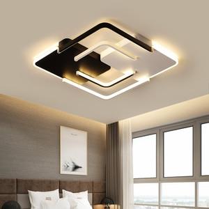 Image 2 - Lustre żyrandol oświetlenie LED salon sypialnia żyrandol z falą kwadratową biały czarny Lustre Avize żyrandole